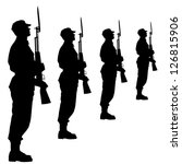 silhouette soldiers during a... | Shutterstock .eps vector #126815906