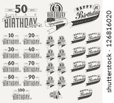 retro vintage style birthday... | Shutterstock .eps vector #126816020