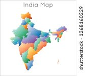 low poly map of india. india... | Shutterstock .eps vector #1268160229