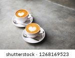 two white cups of tasty... | Shutterstock . vector #1268169523
