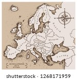 vintage map of europe. hand... | Shutterstock .eps vector #1268171959