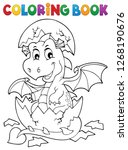 coloring book dragon hatching... | Shutterstock .eps vector #1268190676
