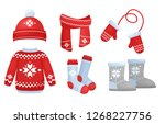 vector illustration of winter... | Shutterstock .eps vector #1268227756