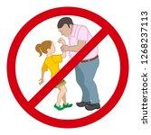 little girl who is grabbed her... | Shutterstock .eps vector #1268237113