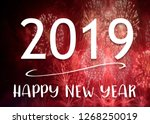 2019 happy new year words on... | Shutterstock . vector #1268250019