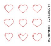 heart linear icons  love symbol ... | Shutterstock .eps vector #1268253769