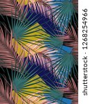 seamless tropical palm leaves... | Shutterstock . vector #1268254966