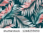 seamless tropical leaves... | Shutterstock . vector #1268255053