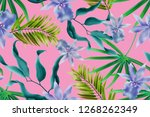 colourful seamless pattern with ... | Shutterstock . vector #1268262349