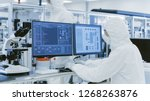 in laboratory over the shoulder ... | Shutterstock . vector #1268263876