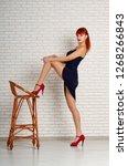 graceful beautiful leggy girl...   Shutterstock . vector #1268266843