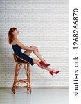 elegant beautiful leggy girl in ...   Shutterstock . vector #1268266870