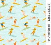 surfer girl vector pattern.... | Shutterstock .eps vector #1268283139