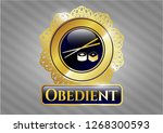 shiny emblem with sushi icon... | Shutterstock .eps vector #1268300593