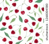 red bright cherries on a white...   Shutterstock .eps vector #1268304580