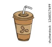 coffee cup with straw and use... | Shutterstock .eps vector #1268317699
