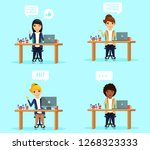 set of concepts. young girls in ... | Shutterstock .eps vector #1268323333