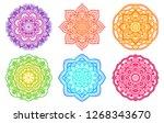 colorful gradient mandala.... | Shutterstock .eps vector #1268343670