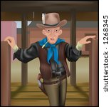A cowboy coming through some swing doors. Clothing and gun make extensive use of gradient meshs. - stock vector