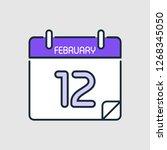 february 12.calendar icon... | Shutterstock .eps vector #1268345050