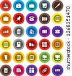 white solid icon set  trash bin ... | Shutterstock .eps vector #1268351470