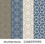 seamless set geometric floral... | Shutterstock .eps vector #1268359390