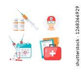 set of medicine items for... | Shutterstock .eps vector #1268366929