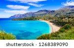 italian holidays .best beaches... | Shutterstock . vector #1268389090