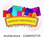 happy makar sankranti. festival ... | Shutterstock .eps vector #1268420719