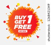 buy 1 get 1 free  sale tag...   Shutterstock .eps vector #1268421349