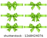 green  gift  bows set  isolated ... | Shutterstock .eps vector #1268424076