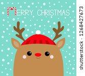 merry christmas. raindeer deer... | Shutterstock .eps vector #1268427673