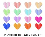 colorful paper hearts vector... | Shutterstock .eps vector #1268430769