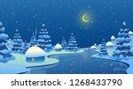 winter landscape. new year.... | Shutterstock .eps vector #1268433790