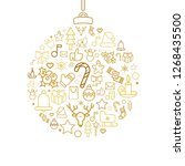 bauble silhouette with xmas... | Shutterstock .eps vector #1268435500