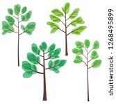 set of trees with green leaves  ... | Shutterstock .eps vector #1268495899