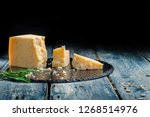 pieces of parmesan or... | Shutterstock . vector #1268514976
