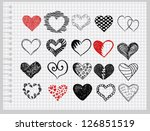 set hearts drawn by hand on a... | Shutterstock .eps vector #126851519