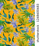 colourful seamless pattern with ... | Shutterstock . vector #1268600683