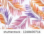seamless tropical leaves... | Shutterstock . vector #1268600716