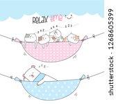 Stock vector cute animals on swing bed cute animal illustration little cat kitten cartoon cute bear cartoon 1268605399