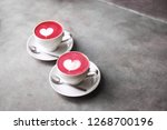 two white cups of trendy... | Shutterstock . vector #1268700196