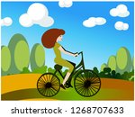 ride a bicycle concept  | Shutterstock .eps vector #1268707633