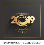 happy new year 2019 golden text ... | Shutterstock .eps vector #1268772160