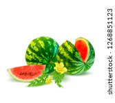 watermelon low poly. fresh ... | Shutterstock . vector #1268851123