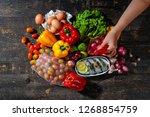 salad and ingredients | Shutterstock . vector #1268854759