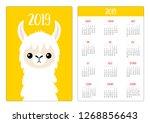 cute llama alpaca face head....   Shutterstock . vector #1268856643
