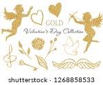 Watercolor Golden Angel  Heart...