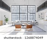 3d rendering. loft apartment... | Shutterstock . vector #1268874049