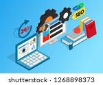 seo clip art. isometric clip... | Shutterstock . vector #1268898373